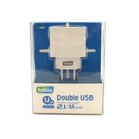Įkroviklis Tellos buitinis su USB jungtimi (dual) (1A+2.1A) baltas