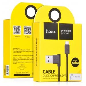 USB kabelis HOCO UPM10 L Shape microUSB 1.2m juodas