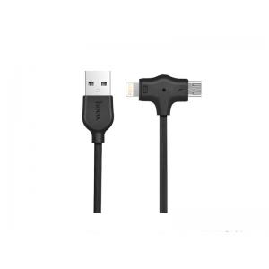 USB kabelis HOCO X10 Starfish  lightning+micro  Fast Charging 1m juodas