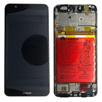 Ekranas Huawei P Smart su lietimui jautriu stikliuku su rėmeliu ir baterija juodas originalus (service pack)