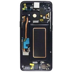 Ekranas Samsung G960F S9 su lietimui jautriu stikliuku ir rėmeliu juodas (Midnight Black) originalus (service pack)