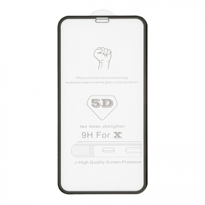 LCD apsauginis stikliukas  5D Full Glue  Apple iPhone X / XS / 11 Pro lenktas juodas be įpakavimo