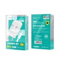 Įkroviklis HOCO C41A Wisdom Dual USB + microUSB kabelis (5V 2.4A) baltas