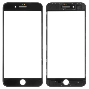 LCD stikliukas Apple iPhone 8 Plus su rėmeliu ir OCA juodas ORG (v2)