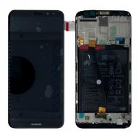 Ekranas Huawei Mate 10 Lite su lietimui jautriu stikliuku su rėmeliu ir baterija juodas originalus (service pack)