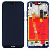 Ekranas Huawei P20 Lite su lietimui jautriu stikliuku su rėmeliu ir baterija mėlynas originalus (service pack)