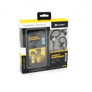 Dėklas Platinet ant rankos + laisvų rankų įranga 3,5mm juodas 4.7' - 5.0' (14x7,1cm)