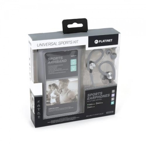Dėklas Platinet ant rankos + laisvų rankų įranga 3,5mm pilkas 4.7' - 5.0' (14x7,1cm)