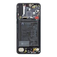 Ekranas Huawei P20 PRO su lietimui jautriu stikliuku ir rėmeliu ir baterija juodas originalus (service pack)