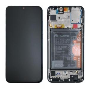 Ekranas Huawei P Smart 2019 / P Smart Plus 2019 su lietimui jautriu stikliuku su rėmeliu ir baterija juodas originalus (service pack)