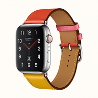 Apyrankė Cote iWatch Hermes Ambre / Capucine / Rose Azalée Swift Leather Single Tour 42-44mm
