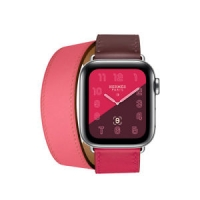 Apyrankė Cote iWatch Hermes Bordeaux / Rose Extrźme / Rose Azalée Swift Leather Single Tour 42-44mm