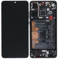Ekranas Huawei P30 su lietimui jautriu stikliuku su rėmeliu ir baterija juodas originalus (service pack)