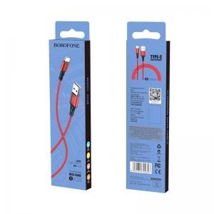 USB kabelis BOROFONE BX20 Enjoy type-C raudonas 1m