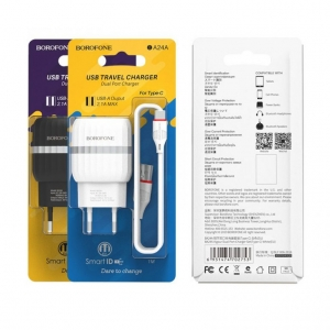 Įkroviklis BOROFONE BA24A Vigour Dual USB + Type-C kabelis (5V 2.4A) baltas