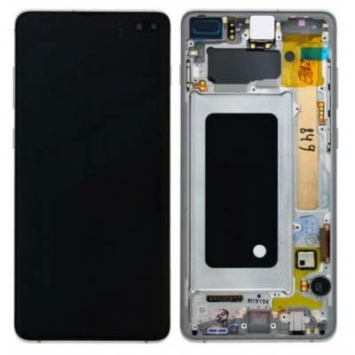 Ekranas Samsung G975F S10 Plus su lietimui jautriu stikliuku juodas (Prism / Ceramic Black) originalus (service pack)