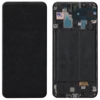Ekranas Samsung A305 A30 2019 su lietimui jautriu stikliuku juodas originalus (service pack)