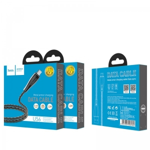 USB kabelis HOCO U56 Metal armor microUSB 1,2m pilkas