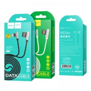 USB kabelis HOCO U42 Exquisite steel  lightning  1,2m juodas