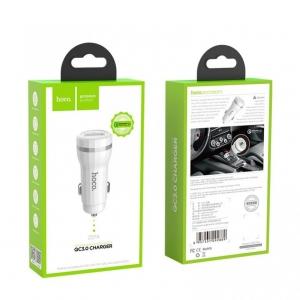 Įkroviklis automobilinis HOCO Z27A QC3.0 USB 18W (3.6V-6.5V / 3A, 6.6-9V / 2A, 9.1V-12V / 1.5A) baltas