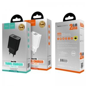 Įkroviklis HOCO C51A Prestige power Dual USB (5V 3.4A) juodas