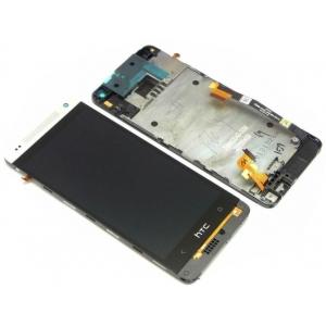 Ekranas HTC One Mini (M4) su lietimui jautriu stikliuku su rėmeliu sidabrinis originalus (service pack)