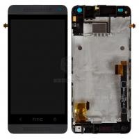 Ekranas HTC One Mini (M4) su lietimui jautriu stikliuku su rėmeliu juodas originalus (service pack)