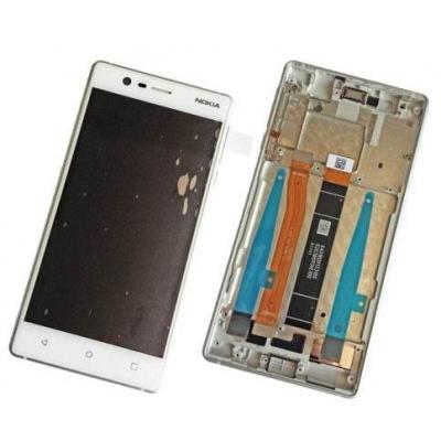 Ekranas Nokia 3 su lietimui jautriu stikliuku ir rėmeliu baltas originalus (used Grade B)