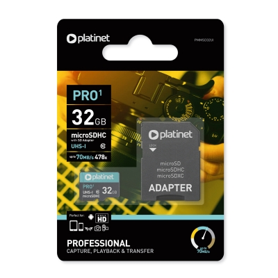 Atminties korta Platinet MicroSD 32GB (class10 UHS-III 90MB / s) + SD Adapteris