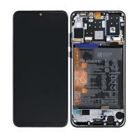 Ekranas Huawei P30 Lite su lietimui jautriu stikliuku ir rėmeliu ir baterija juodas originalus (service pack)