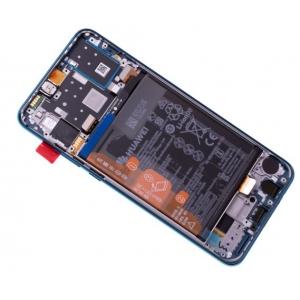 Ekranas Huawei P30 Lite 48MP su lietimui jautriu stikliuku ir rėmeliu ir baterija mėlynas (Peacock Blue) originalus (service pack)
