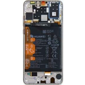 Ekranas Huawei P30 Lite 48MP su lietimui jautriu stikliuku ir rėmeliu ir baterija baltas originalus (service pack)