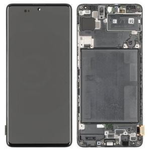 Ekranas Samsung A715 A71 2020 su lietimui jautriu stikliuku juodas originalus (service pack)
