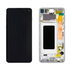 Ekranas Samsung G973F S10 su lietimui jautriu stikliuku baltas (Prism White) originalus (service pack)
