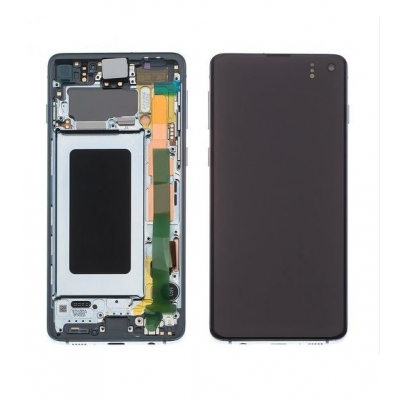 Ekranas Samsung G973F S10 su lietimui jautriu stikliuku žalias (Prism Green) originalus (service pack)