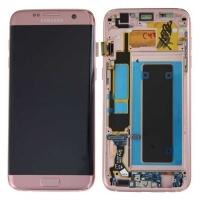 Ekranas Samsung G935F S7 Edge su lietimui jautriu stikliuku ir rėmeliu rožinis originalus (used Grade B)
