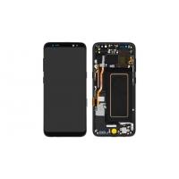Ekranas Samsung G950F S8 su lietimui jautriu stikliuku ir rėmeliu juodas originalus (used Grade B)