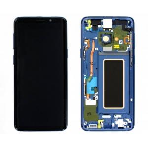 Ekranas Samsung G960F S9 su lietimui jautriu stikliuku ir rėmeliu mėlynas (Coral Blue) originalus (used Grade C)
