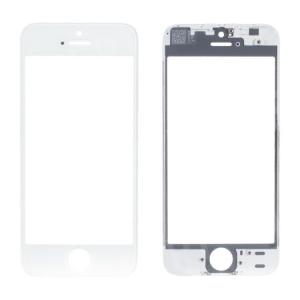 LCD stikliukas Apple iPhone 5S / SE su rėmeliu ir OCA baltas ORG (v2B)