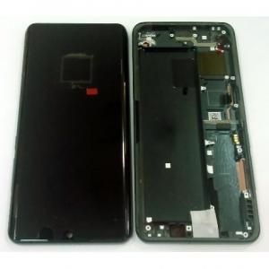 Ekranas Xiaomi Mi Note 10 / Mi Note 10 Pro su lietimui jautriu stikliuku su rėmeliu juodas originalus (service pack)