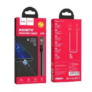 USB kabelis HOCO U76 Fresh magnetic  lightning  1m juodas