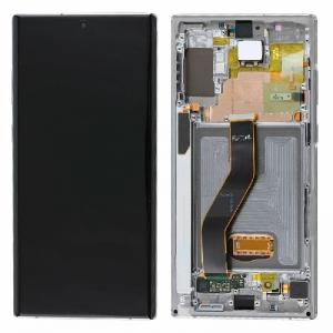 Ekranas Samsung N975 Note 10 Plus / N976 Note 10 Plus 5G su lietimui jautriu stikliuku ir rėmeliu sidabrinis originalus (used Grade B)