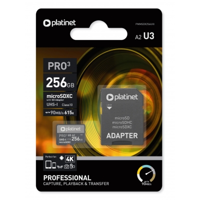 Atminties korta Platinet MicroSD 256GB (class10 UHS-III 90MB / S) + SD Adapteris
