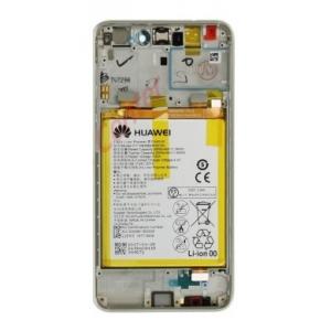 Ekranas Huawei P8 Lite 2017 / P9 Lite 2017 / Honor 8 Lite su lietimui jautriu stikliuku su rėmeliu ir baterija baltas originalus (service pack)