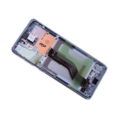 Ekranas Samsung G985F / G986F S20 Plus su lietimui jautriu stikliuku ir rėmeliu mėlynas (Cloud Blue) originalus (service pack)