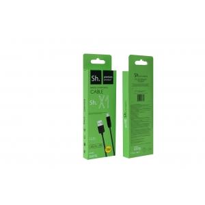 USB kabelis Sh X1 Rapid microUSB (2.4A) juodas (1m)
