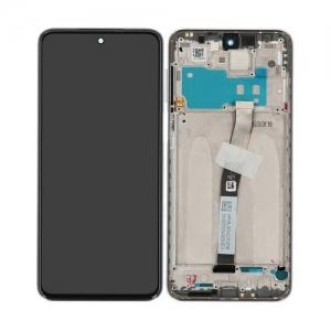 Ekranas Xiaomi Redmi Note 9 Pro su lietimui jautriu stikliuku su rėmeliu baltas originalus (service pack)