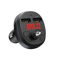 Įkroviklis automobilinis + FM transmiteris HOCO E41 (bluetooth, 2xUSB) juodas