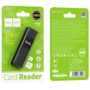 Korteliu skaitytuvas HOCO HB20 (microSD,SD, USB 3.0) juodas