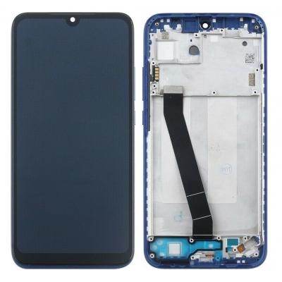 Ekranas Xiaomi Redmi 7 su lietimui jautriu stikliuku su rėmeliu mėlynas originalus (service pack)